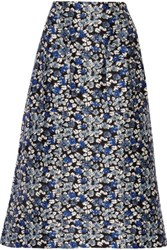 Mother Of Pearl Glennis Floral Print Cotton And Silk Blend Midi Skirt Blue