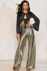 Nasty Gal Hot And Gold High Waisted Metallic Pants