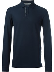 Hackett Longsleeved Polo Shirt Blue