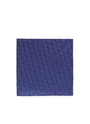Armani Collezioni Diamond Jacquard Silk Pocket Square Blue