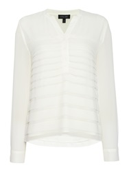 Episode Collarless Pleated Layer Blouse White