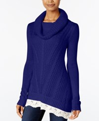 Hippie Rose Juniors' Lace Trim Cowl Neck Sweater Tapestry Blue