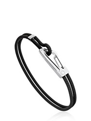 Montblanc Steel And Braided Leather Bracelet