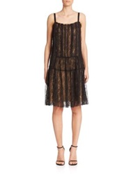 Vera Wang Pleated Lace Flapper Dress Black