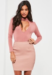 Missguided Pink Extreme Quilted Faux Leather Mini Skirt