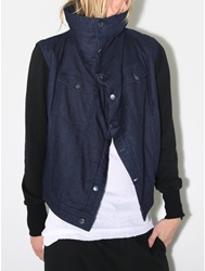 Oak Sherpa Square Collar Jacket In Indigo Black Oak
