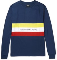 Stussy Race Stripe Printed Cotton Jersey T Shirt Navy