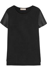 Michael Michael Kors Faux Leather Paneled Stretch Jersey T Shirt Black