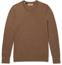 Burberry Check Trimmed Cashmere Sweater Tan