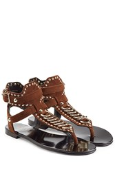 Balmain Embellished Suede Sandals Brown