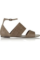Mcq By Alexander Mcqueen Croc Effect Leather Sandals Nude