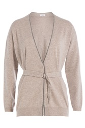 Brunello Cucinelli Cashmere Cardigan With Bead Embellishment Brown