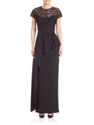 Rickie Freeman For Teri Jon Short Sleeve Asymmetrical Peplum Gown Black