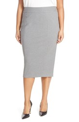 Sejour Plus Size Women's Midi Ponte Pencil Skirt Grey Dark Heather