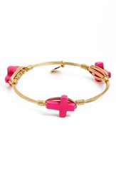 Bourbon And Boweties Extra Small Cross Stone Bracelet Pink