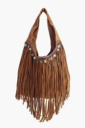 Boohoo Embroidery Detail Fringed Day Bag Tan