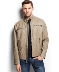 Calvin Klein Quilted Faux Leather Moto Jacket Mink