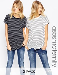 Asos Maternity Tall Easy T Shirt In Stripe 2 Pack Save 15 Multi