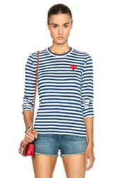 Comme Des Garcons Play Striped Cotton Red Heart Tee In Stripes Blue
