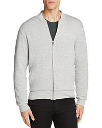 Velvet Ravel Heathered Knit Fleece Lined Bomber Jacket Heather Gray