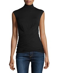 Donna Karan Sleeveless Stretch Jersey Mock Neck Top Black