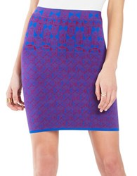 Bcbgmaxazria Aleksandra Geometric Knit Jacquard Power Skirt Royal Blue Combo