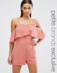 True Decadence Petite Cami Strap Ruffle Front Playsuit Tan