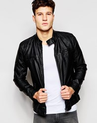 Brave Soul Faux Leather Biker Jacket Black