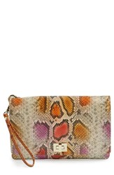 Brahmin 'Sol Lily' Embossed Leather Clutch
