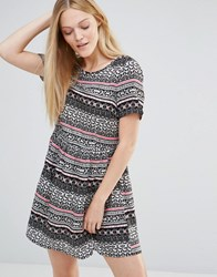 Vero Moda Super Easy Skater Dress In Boho Print Neon Orange White
