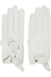 Causse Gantier Helena Bow Embellished Leather Gloves White