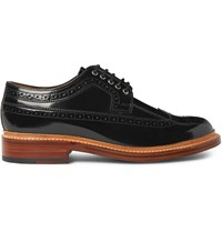 Grenson Sid Polished Leather Wingtip Brogues Black
