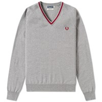 Fred Perry Single Tipped Merino V Neck Sweater Grey