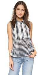 Sea Gingham And Lace Tank Multi