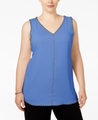 Alfani Plus Size Studded Sleeveless Tunic Blouse Only At Macy's Alf Pery Blue