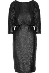 Badgley Mischka Sequin Embellished Tulle Dress Black