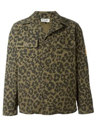 Saint Laurent Leopard Print Jacket Green
