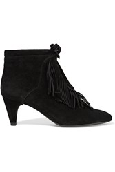 Maje Fringed Suede Ankle Boots Black