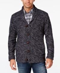 Weatherproof Vintage Men's Big And Tall Marled Lined Shawl Collar Cardigan Navy Heather