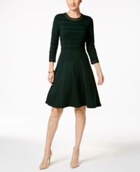 Jessica Howard Crochet Trim Fit And Flare Sweater Dress Green
