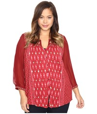 Lucky Brand Plus Size Border Print Top Red Multi Women's Clothing