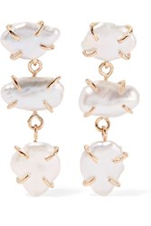 Melissa Joy Manning 14 Karat Gold Pearl Earrings Gold White