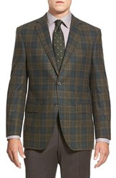 Men's Big And Tall David Donahue 'Connor' Classic Fit Plaid Wool And Cashmere Sport Coat Olive