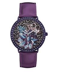 Guess Floral Design Leather Watch Purple