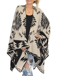 Cake And Roses Tribal Print Knit Poncho Black Tan
