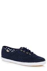 Oasis Crochet Lace Up Trainer Navy