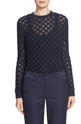 Women's Julien David Check Knit Crewneck Sweater