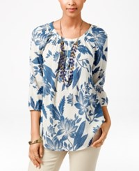 American Living Floral Print Peasant Blouse Only At Macy's Multi
