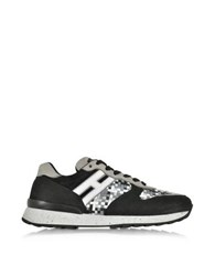 Hogan Rebel R261 Woven Leather And Suede Sneaker Black