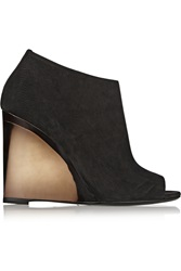 Burberry Suede Wedge Boots Black